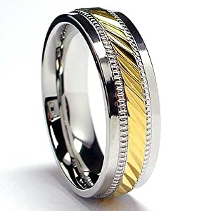 7MM Men's 14K Gold Plated Stainless Steel Ring Size 8