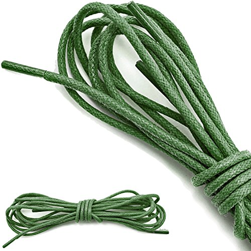 DailyShoes Round Waxed Shoelaces Oxford Flat Dress Canvas Shoe Laces (Great for Sturdy Shoes), Dark Green