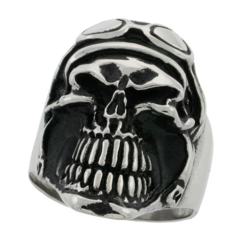 Surgical Steel Biker Ring Biker Skull with Helmet and Goggles 1 1/4 inch wide, size 13