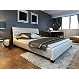 vidaXL Polsterbett 140cm aus weißem Kunstleder + Matratze mit Bezug