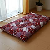 日本製 和柄 長座布団 68×120cm 長め座布団(人形柄) 和綴じ 綿混わた ふっくらボリューム (レッド)