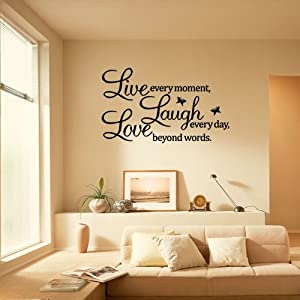 Ecloud Shop PVC LIVE LAUGH LOVE Letters Removable Room Art Mural Wall Sticker Decal by Ecloud Shop