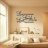 Ecloud Shop Sticker Mural Décoration Amovible Lettre Noir LIVE LAUGH LOVE En PVC Pr Maison...