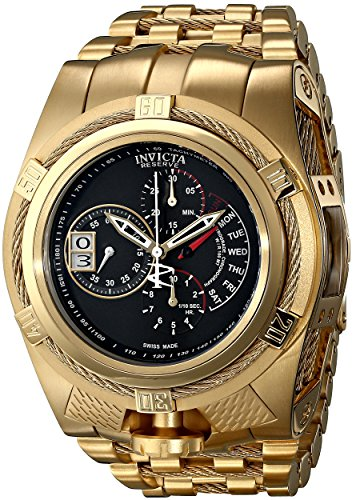 Invicta Bolt Men's Quartz Watch with Black Dial  Chronograph display on Gold Stainless Steel Plated Bracelet 16956