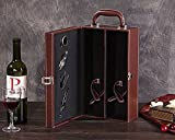 Bissport PU Leather Travel Wine Carrier Case,2 Bottle Modern Top Handle with 4 Piece Wine Accessory Set(Brown)