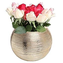 Contemporary Metallic Gold Tone Textured Centerpiece Modern Ceramic Planter Pot / Decorative Flower Vase - MyGift®