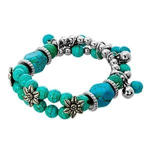 Pugster Turquoise Gemstone Chips Vintage Flower Charm Beads Chunky Stretch Bracelet