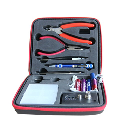 Updated Vape DIY Tool Kit 6-IN-1 Jig Coil Kit V3, ohm Meter, Diagonal Pliers, Scissors, Screwdriver, Ceramic/elbow Tweezer, Kanthel Wire, Case (Vape Coil Jig Pen compare prices)