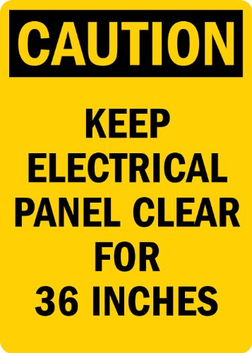 "Smartsign Adhesive Vinyl Osha Safety Sign, Legend ""Caution: Keep Electric Panel Area Clear For 36 Inches"", 14"" High X 10"" Wide, Black On Yellow"