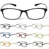 10カラーで遊べる老眼鏡 【Colors】 老眼鏡 おしゃれ レディース メンズ ブルーライトカット (度数+1.00, クリアブラック)