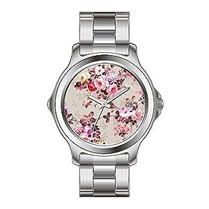 FYD Watch Man's Fashion Stainless Steel Band Watch Vintage Elegant Pink Red Purple Roses Pattern Wrist Watches