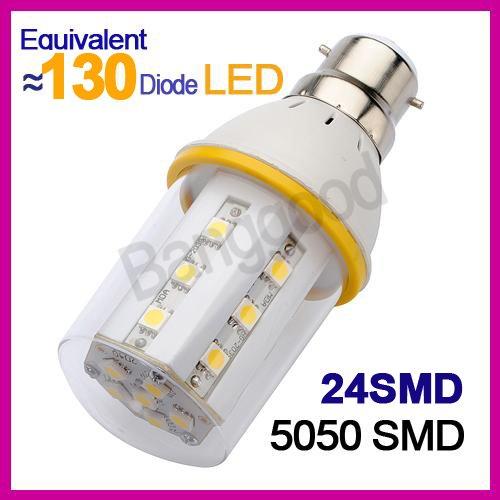 6W=24W B22 24 Led 5050 Smd 330Lm Ampoule Lampe Chaud Blanc 220-240V Economie #F