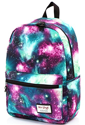 [HotStyle Fashion Printed] TrendyMax Galaxy Pattern School Backpack Cute for Girls, Green (Space Girls Sleeves compare prices)