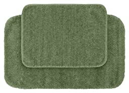 Garland Rug 2-Piece Traditional Nylon Washable Bathroom Rug Set, Deep Fern