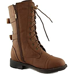 Pack-72K Girls Military Lace Up Mid Calf Boots Tan 3M Little Kid