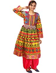 Exotic India Afghan Suit With Flared Skirt, Multi-Coloured Embroid - Multi Color