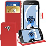 ITALKonline Samsung S7582 Galaxy S Duos 2 Red PU Leather Executive Multi-Function Wallet Case Cover Organiser Flip with Credit / Business Card Money Holder Integrated Horizontal Viewing Stand