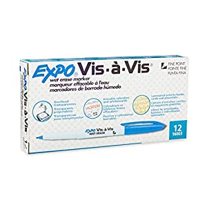 Expo Vis-A-Vis Wet-Erase Overhead Transparency Markers, Fine Point, 12-Pack, Blue
