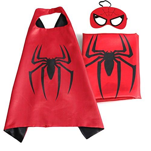 [IMC.Collab Child Superhero or Princess Cape and Mask Dress Up Halloween Costume (Spiderman)] (Spiderman Mask Kids)