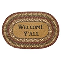 Country Style Gold, Green, Burgundy, CreamJute Rug Oval Stencil Welcome Y'all 20x30