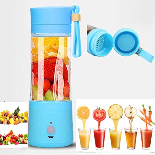 Great Features Of Portable Lightweight Personal Juicer Smoothie Blender Maker (Blue)
