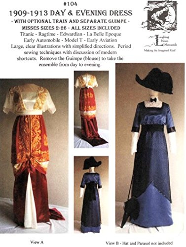 1890s-1905 Edwardian Gibson Girl Era Clothing Links 1909-1913 Edwardian Pattern $18.00 AT vintagedancer.com