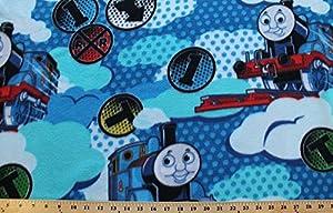Thomas the tank train railroad tracks kids for Kids train fabric
