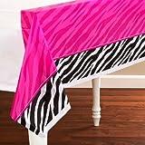 Zebra Stripes 'Pink and Black' Animal Print Plastic Table Cover (1ct)