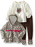 Nannette Girls 2-6X 3 Piece Heart And Leopard Set