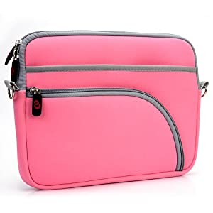 Travel Case [with shoulder straps] for Portable DVD Player Philips PD9000/37 - Pink. Bonus Ekatomi Screen Cleaner Sticker.