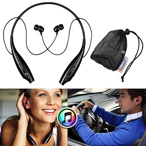 Versiontech Black Wireless Bluetooth Stereo Sports Headset Earphone Headphone Neckband Style For Iphone 5S 5C 5 4S, Samsung Galaxy Note 3 2 1, Samsung Galaxy S4 S3 S2, Ipod Touch 7 6 5 Ipad 4 Mini Air And Other Smart Cellphone With A Small Mesh Bag