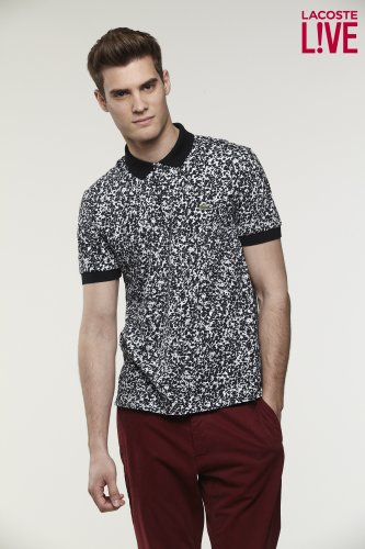 L!VE Short Sleeve All-over Small Print Mini Pique Polo Shirt