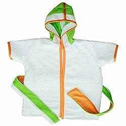 Premium terry Cotton Kids Hooded Bath Robe Beach Towel for bath swim - Green Stripes from KADAMbaby (2T)