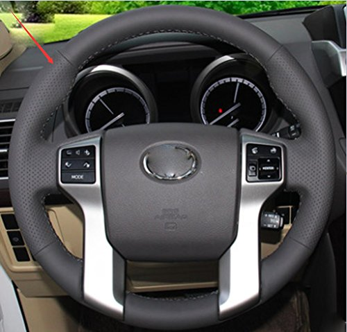 Generic Hand Sewing Black Genuine Leather Steering Wheel Cover For Toyota Prado Land Cruiser2010-2016/Toyota Tocoma 2012-2016/Toyota Tundra 2014-2016/Toyota 4Runner 2010-2016/Toyota Sequoia 2014 2015 (2013 Toyota Prado Accessories compare prices)