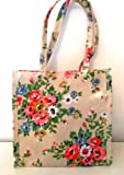 SMALL FLORAL RE-USABLE WIPE CLEAN LITTLE BAG (BEIGE WITH PINK & GREEN FLOWERS)