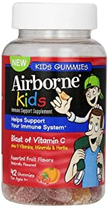 Airborne Kids Gummies Vitamin 667mg Immune Support Supplement, Assorted Fruit Flavors, 42 Count