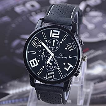 Amazon.com: Mens BLACK BIG DIAL GRAND TOURING GT Brand Sports ...
