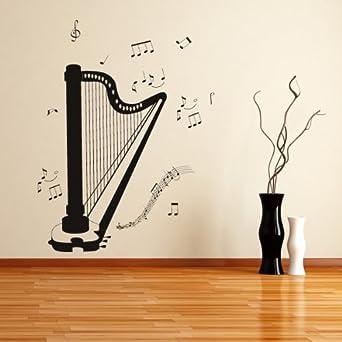Notas musicales instrumentos arpa arte de pared adhesivo for Vinilos decorativos instrumentos musicales