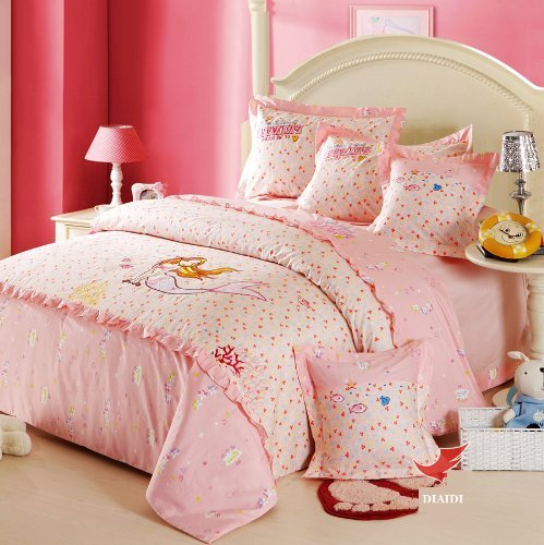FADFAY Cute Princess Bedding Sets Twin Size Fish Mermaid Bedding Set,Sea-Maid Floral Bedding Set 4Pcs