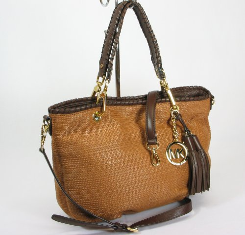 NEW AUTHENTIC MICHAEL KORS BENNET CONVERTIBLE SHOULDER STRAW TOTE (Luggage/Mocha)