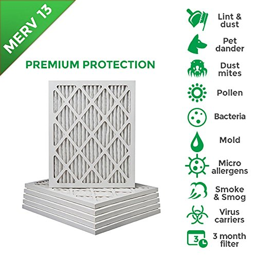 20x25x1 MERV 13 ( MPR 2200 ) AC Furnace Air Filters. Box of 6 (Pleated Furnace Filters 20x25x1 compare prices)