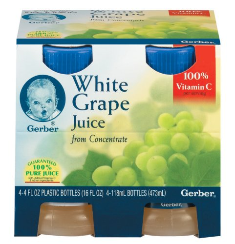 Gerber, 100% Juice, White Grape from Concentrate, 4 Bottles, 4 fl oz (118 ml) Each