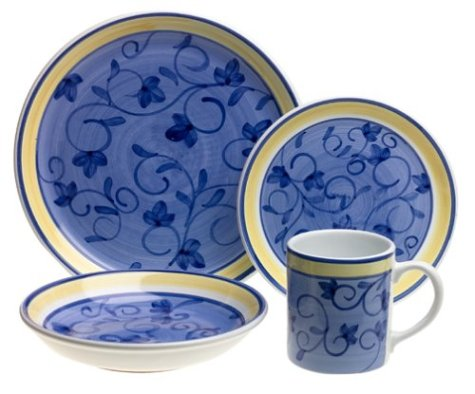 Caleca Arabesco 16-Piece Dinnerware Set, Service for 4