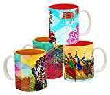 Tangerine Indie Tadka Punjab and Gujarat Porcelain Mug Set, 250ml, Set of 4, Multicolour