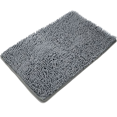 [Updated] VDOMUS Non-slip Microfiber Shag Bath Mat Bathroom Mats Shower Rugs - Gray 20 x 32 inches