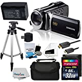 """Samsung HMX-F90 Black Camcorder with 2.7"""" LCD Screen and HD Video Recording + Case & Extra Battery + Full Size Tripod With 32GB Deluxe Accessory Bundle Much More"""