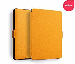 Elegant PREMIUM Ultra Thin (Oracle Texture) Protective Smart Leather Flip Case Cover with Auto Wake/Sleep for Amazon Kindle Paperwhite 2012, 2013, 2014 and 2015 New 300 PPI Smart Flip Cover Case (Color - Mango)