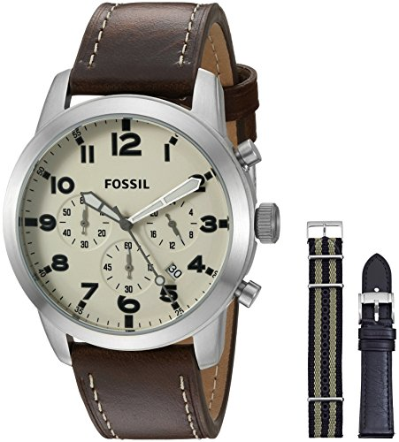 Fossil Men's FS5182SET Pilot 54 Chronograph Leather and Nylon Box Set - 51ENX85oO5L - Fossil Men's FS5182SET Pilot 54 Chronograph Leather and Nylon Box Set