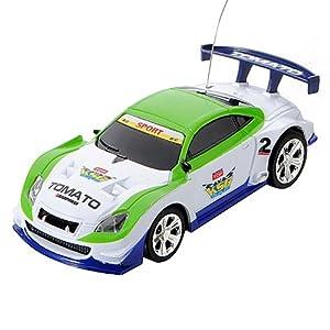 KingSo® Mini Voiture RC MICRO 1:58 Miniature Jouet RADIO COMMANDEE TELECOMMANDEE CANETTE vert blanc