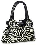 Big Handbag Shop Damen Schultertasche aus Kunstleder in Silber Kisslock Woven ( 6020-1 Zebra)